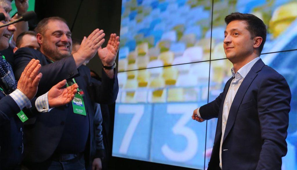 Владимир Зеленский в своем штабе в Киеве 21 апреля 2019 года Sputnik / Scanpix / LETA